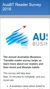 Australian Business Traveller 2018 Survey – Win a Business Class Return Ticket to Singapore With Singapore Airlines No Accomm) Plus Other Prizes (prize valued at $9,000)