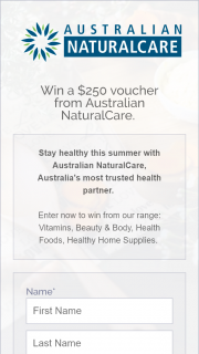 Australian Naturalcare – Win a $250 Voucher From Australian Naturalcare (prize valued at $250)