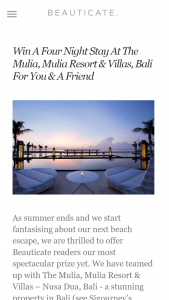 Beauticate – Win a Four Night Stay at The Mulia Mulia Resort & Villas Bali for You & a Friend (prize valued at $2,000)
