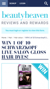 BeautyHeaven – Win One of 10 Schwarzkopf Live Salon Gloss Hair Dyes