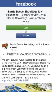 Bertie Beetle showbags – Win Double Passes to Royal Easter Show & Two Bertie Beetle Diamond Deals