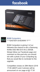 BGM Computers – Win a Samsung Nvme Ssd 960 Evo M2 250gb (prize valued at $350)