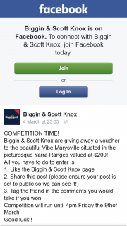 Biggin & Scott Knox – Win $200 Voucher at Vibe Marysville Vic (prize valued at $200)