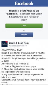 Biggin & Scott Knox – Win $200 Voucher at Yarra Glen Bed & Breakfast In Vic