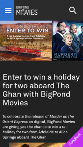 Bigpond Movies – Win a Rail Holiday for Two From Adelaide to Alice Springs Aboard The Ghan (prize valued at $8,810)