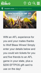 Bottle O – Win an AFL Experience for You and Your Mates Thanks to Wolf Blass Wines (prize valued at $410)