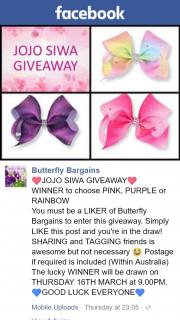 Butterfly Bargains – Win Jojo Bow