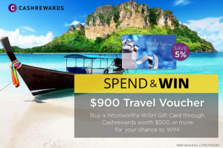 Cashrewards – Win a Travel Club Travel Voucher to The Value of $900 With Thanks to Woolworths Gift Cards (prize valued at $900)