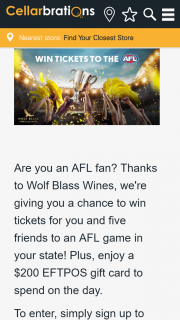 Cellarbrations – Win an AFL Experience for You and Your Mates Thanks to Wolf Blass Wines (prize valued at $410)