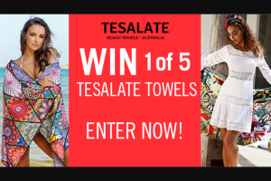 Channel 7 – Sunrise – Win One of Five Tesalate Sand-Free Beach Towels (prize valued at $395)