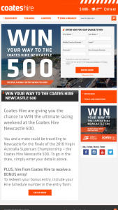 Coates Hire – Win The Ultimate Racing Weekend at The Coates Hire Newcastle 500. (prize valued at $135)