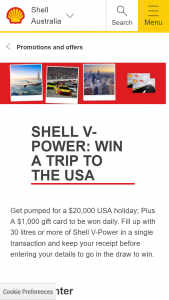 Coles Express Shell V Power – Win a $1000 Coles Express Gift Card (prize valued at $55,000)
