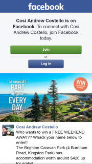 Cosi Andrew Costello – Win a Free Weekend Away? (prize valued at $420)