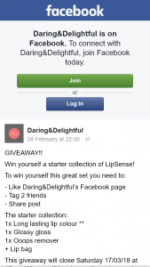 Daring&Delightful – Win Yourself a Starter Collection of Lipsense