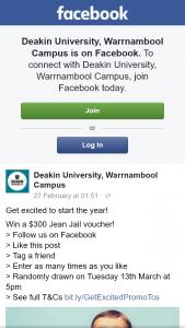 Deakin Univeristy Warrnambool – Win a $300 Jean Jail Voucher (prize valued at $300)