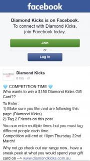 Diamond Kicks – Win a $150 Diamond Kicks Gift Card? (prize valued at $150)