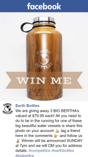 Earth Bottles – Win One of Three Big Bertha's Bottles (prize valued at $79.99)