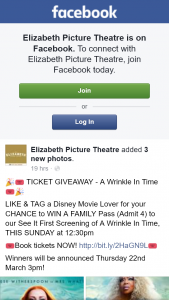 Elizabeth Picture Theatre – Win a Family Pass (admit 4) to Our See It First Screening of a Wrinkle In Time