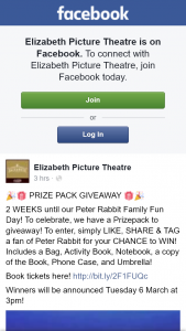 Elizabeth Picture Theatre – Win a Peter Rabbit Prize Pack
