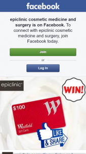 epiclinic cosmetic medicine and surgery – Win a $100 Westfield Gift Card (prize valued at $100)