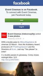 Event Cinemas Indooroopilly – Win a Double Pass to #marymagdalene In Cinemas 22 March