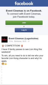 Event Cinemas Loganholme – Win One of Five Family Pass to See The Lion King this Weekend