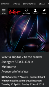 Event Cinemas-Cinebuzz Pre-purchase tickets to Avengers – Win a Trip for 2 to The Marvel Avengers Station In Melbourne