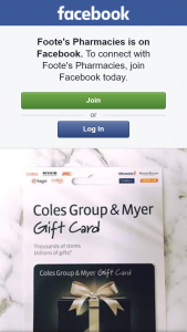 Foote's Pharmacy – Win a $30 Coles Group and Myer Gift Card Pickup Prize)(close Date a Guess (prize valued at $30)
