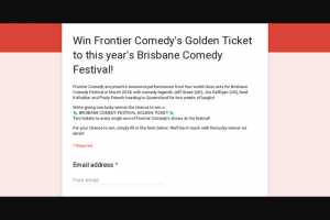 Frontier Comedy – Win Frontier Comedy's Golden Ticket to this Year's Brisbane Comedy Festival