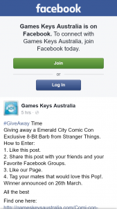 Games Keys Australia – Win a Emerald City Comic Con Exclusive 8bit Barb (prize valued at $20)