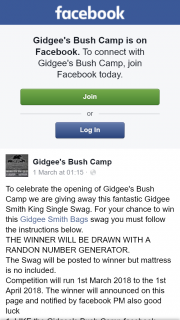 Gidgee's Bush Camp – Win this Gidgee Smith Bags Swag You Must Follow The Instructions Below