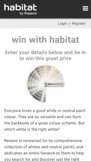 Habitat Resene – Win this Great Prize (prize valued at $500)