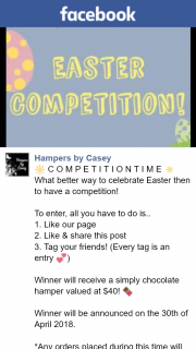 Hampers by Casey – Win Chocolate Hamper (prize valued at $40)