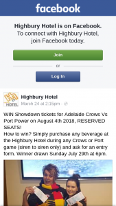 Highbury Hotel – Win Showdown Tickets for Adelaide Crows Vs Port Power on August 4th 2018 Reserved Seats
