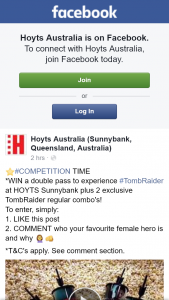 Hoyts Cinemas Sunnybank – Win a Double Pass to See Tomb Raider Plus an Exclusive Combo