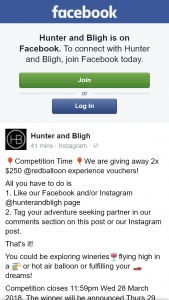 Hunter and Bligh – Win One of Two Redballoon Vouchers (prize valued at $500)