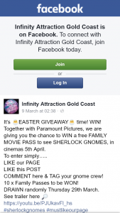 Infinity Attraction Gold Coast – Win a Free Family Movie Pass to See Sherlock Gnomes