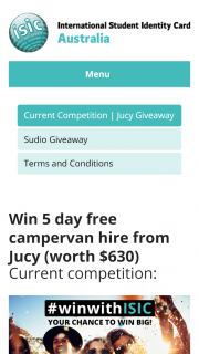 ISIC – Win 5 Day Free Campervan Hire From Jucy (prize valued at $630)