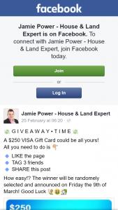 Jamie Power – Win $250 Visa Gift Card (prize valued at $250)