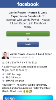 Jamie Power – Win $250 Visa Gift Card (prize valued at $250)