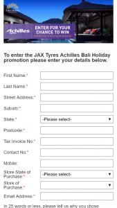 Jax Tyres – Win a Luxury Stay at Bali Trans Seminyak (prize valued at $3,000)