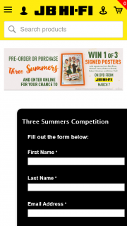 JB HiFi – Win a Signed #threesummers Poster (prize valued at $750)