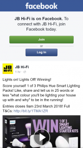 JB Hi-Fi – Win One of Three Philips Hue Smart Lighting Packs (prize valued at $2,367)