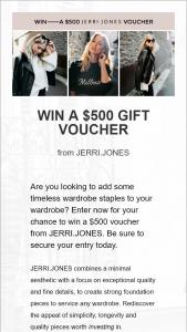 Jerri Jones – Win a $500 Voucher From Jerrijones (prize valued at $500)