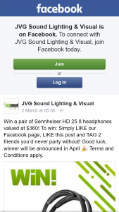 JVG Sound Lighting & Visual – Win a Pair of Sennheiser Hd 25 Ii HeaDouble Passhones Valued at $360 (prize valued at $360)