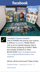 Limelight Cinemas Ipswich – Win an #earlyman Prize Pack