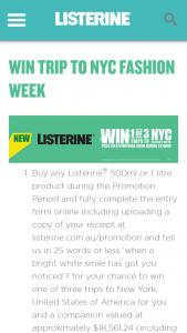 Listerine – Win a Major Prize (prize valued at $18,561.24)