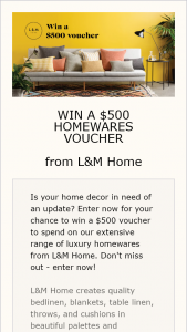 L&M Home – Win a $500 Voucher to Spend on Our Extensive Range of Luxury Homewares From L&m Home