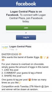 Logan Central plaza – Win a Barrel of Easter Eggs Must Collect