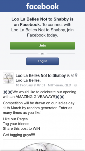 Loo La Belles not too Shabby – Win $100 Clothes Voucher (prize valued at $100)